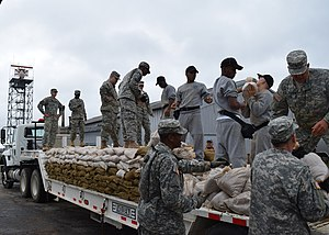 Sandbag - Members of the Georgia National Guard filling sandbags in preparation for floods.