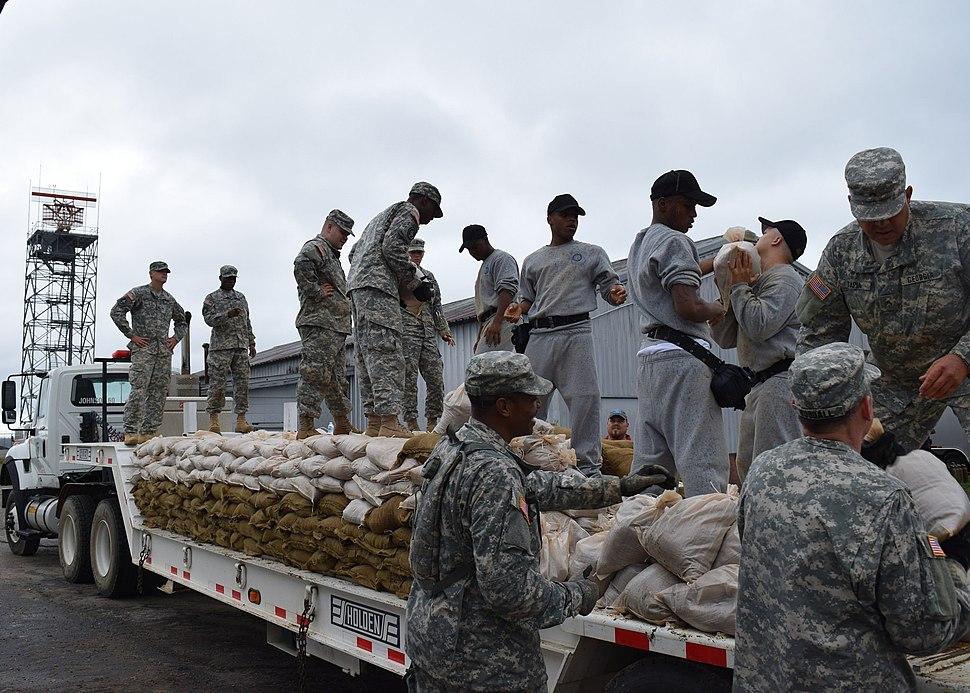 Georgia National Guard filling sandbags