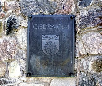 Giedraičiai - The memorial board for Giedraičiai-650
