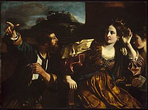 Semiramis - Semiramis hearing of the insurrection at Babylon by Giovanni Francesco Barbieri, 1624 (Museum of Fine Arts, Boston).