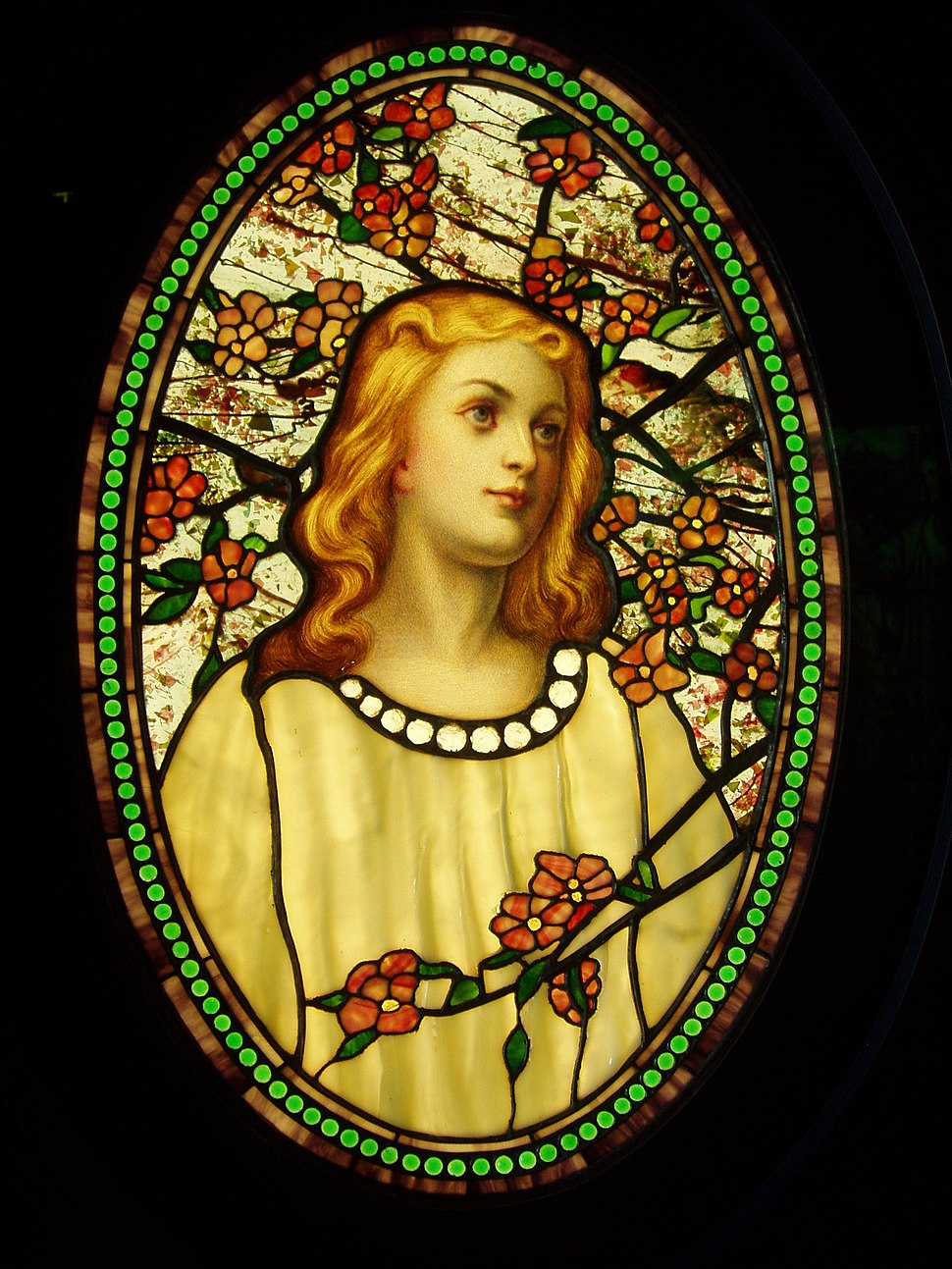 Girl with Cherry Blossoms - Tiffany Glass & Decorating Company, c. 1890
