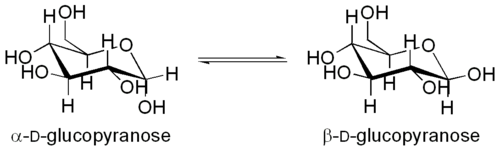 The α- and β-anomers of D-glucopyranose.