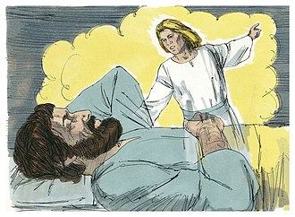 Dream - An artist's illustration of Saint Joseph dreaming.