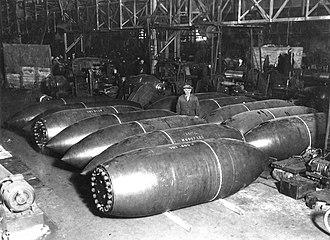 Grand Slam (bomb) - Grand Slam bomb casings awaiting delivery