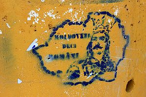 Unification of Romania and Moldova - Graffiti with shapes of Greater Romania near Briceni, Moldova