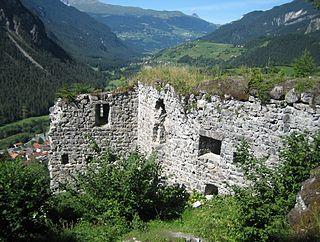 Greifenstein Castle ruins in Filisur, Graubünden, Switzerland
