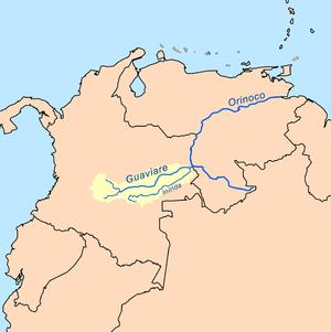 Guaviare River - Image: Guaviarerivermap