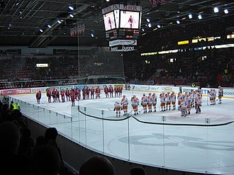 Helsinki Ice Hall - The home team HIFK has just taken on Tappara in a SM-liiga game in Helsinki Ice Hall