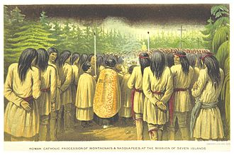 Innu - Roman Catholic procession of First Nations people in the Labrador peninsula