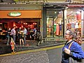 HK Central Soho night Peel Street restaurant n clothing shops Apr-2013.JPG