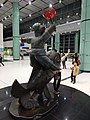 HK Lok Ma Chau MTR Station 落馬洲站 Bauhinia Rider sculpture Chinese Scuptor 蔣朔 Jiang Shuo Bronze statue March 2016 Concourse Level 3 DSC (10).JPG
