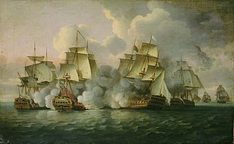 Action of 12 December 1782 - HMS Mediator engaging French and American vessels, 12 December 1782 L'Aimable Eugénie on the right captained by Nicolas Baudin is seen fleeing from the action.