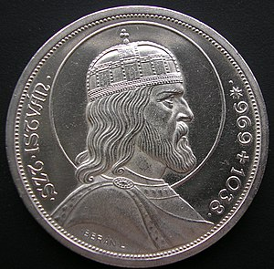 Lajos Berán - Lajos Berán: Saint Stephen of Hungary on the 5 pengő coin 1938