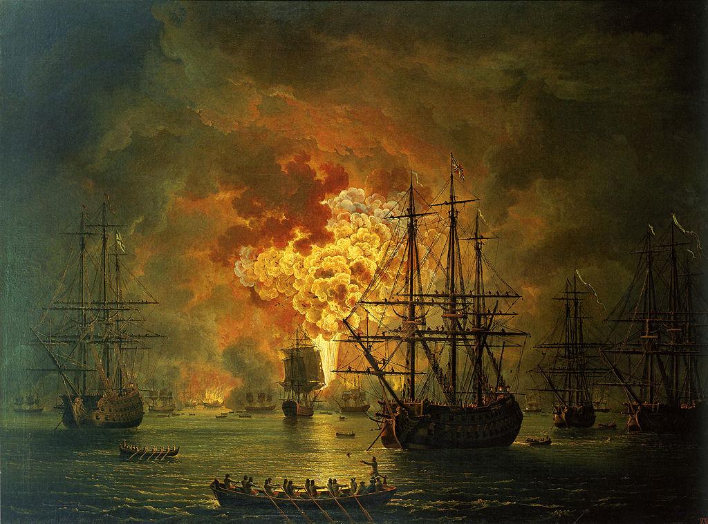 Hackert, Die Zerstörung der türkischen Flotte in der Schlacht von Tschesme, 1771.jpg