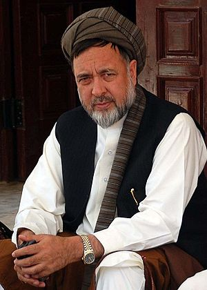 Mohammad Mohaqiq - Haji Mohammad Mohaqiq in May 2010, sitting by the Afghanistan Parliament door during protest against invasion of Kuchis in Hazarajat