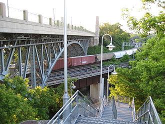 York Boulevard - Stairway, T.B. McQuesten high level bridge, leading down to Waterfront Trail.