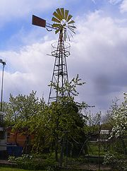 Water pumping rural windmill in Germany.