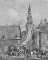 Heike Kamerlingh Onnes - 03 - Brugstraat, Groningen At the back right Heike's birthplace Watercolor by AJ van Prooijen, 1861.png