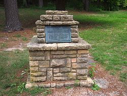 Historical marker of Helena's second location, in Tower Hill State Park