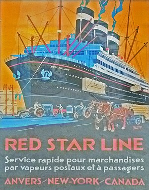 Red Star Line - Poster of the Belgenland by Henri Cassiers