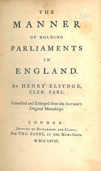 Thomas Payne - Image: Henry Elsynge, The Manner of Holding Parliaments in England (1768, title page)