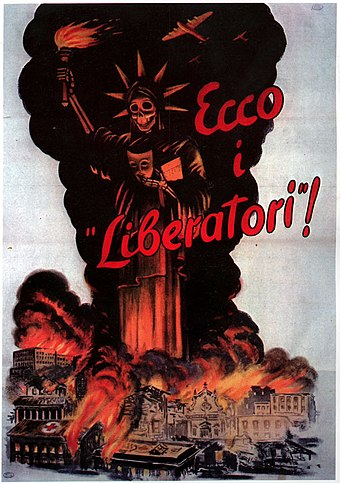 "Fascist propaganda poster denouncing Allied bombings of Italian cities (""Here are the 'Liberators'!""). Here are the the liberators-Italian WWII Poster - Statue of Liberty.jpg"