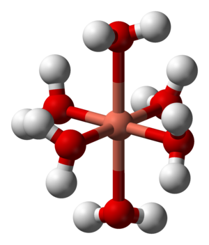 Metal ions in aqueous solution - Image: Hexaaquacopper(II) 3D balls