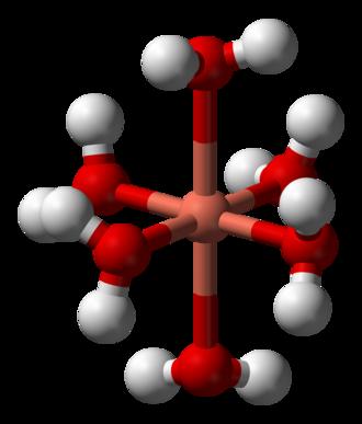 Metal ions in aqueous solution - Image: Hexaaquacopper(II) 3D balls
