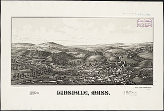 Hinsdale, Massachusetts - Print of Hinsdale by L.R. Burleigh with listing of sights