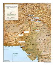 A relief map of Pakistan showing historic sites.