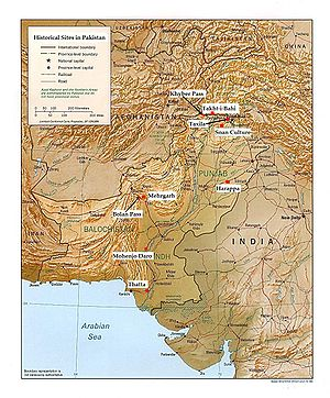 A map outlining historical sites situated in modern day Pakistan