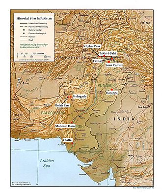 History of Pakistan - A map outlining historical sites in Pakistan