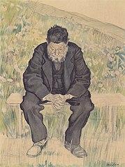 Ein Bild aus dem 19. Jahruhundert zeigt einen greisen Mann in niedergedrückter Haltung.