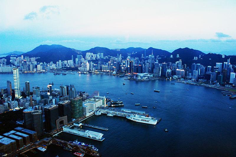 Pemandangan Pulau Hong Kong dari menara sky100