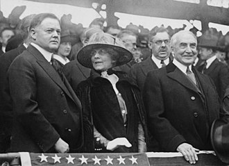 Hoover (left) with President Harding at a baseball game, 1921 Hoover and Harding at baseball game.jpg