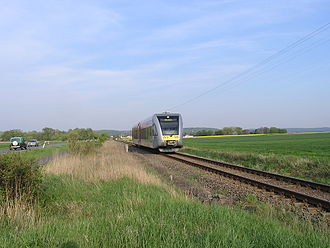 Beienheim–Schotten railway - A GTW 2/6 set shortly before Reichelsheim