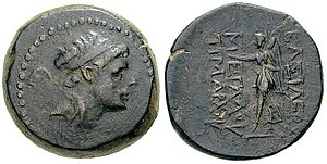 Timarchus - Coin of Timarchus. Reverse shows Nike. The Greek inscription reads  Basileos Megalou Timarchou (of Great King Timarchus).