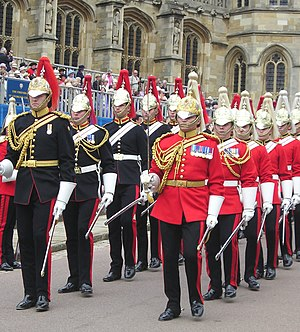 Aiguillette - Commissioned officers of the Household Cavalry in full dress wearing aiguillettes