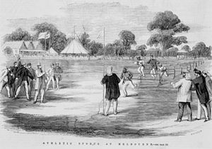 H. C. A. Harrison - Harrison and members of Tom Wills' Aboriginal cricket team engaged in a hurdle race, MCG, January 1867