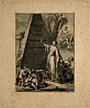 Hygieia stands before a pyramid engraved with the names of f Wellcome V0007555.jpg