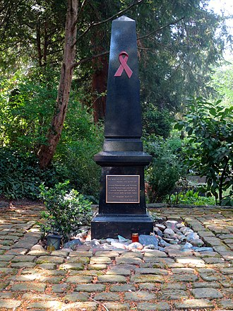 HIV/AIDS activism - A obelisk stands in memorial to victims of AIDS inside a Heidelberg, (Germany) cemetery