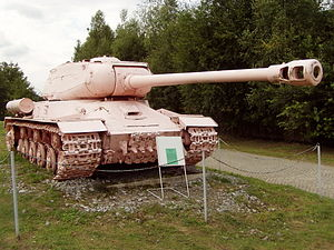 Military museum Lešany - The famous Pink Tank IS-2 at the entrance to the museum