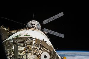 Johannes Kepler ATV - Johannes Kepler ATV prepares to dock with the ''Zvezda'' module of the ISS.