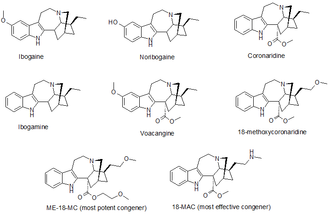 18-Methoxycoronaridine - Image: Iboga alkaloids