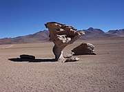 A rock formation in the Altiplano, Bolivia sculpted by wind erosion.