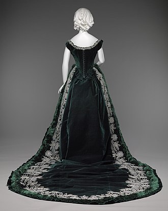 Embellishment - 1880s Russian court dress, embellished with silk fringe, velvet ruffles, and embroidery with glass crystals and silver sequins.