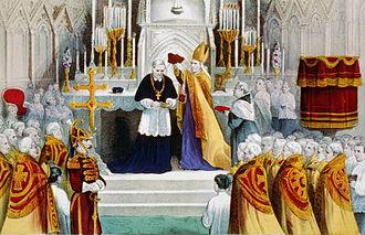 John McCloskey - Imposing the Cardinal's Berretta, lithograph depicting McCloskey receiving the Cardinal's biretta from Archbishop James Roosevelt Bayley.
