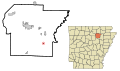 Independence County Arkansas Incorporated and Unincorporated areas Oil Trough Highlighted.svg