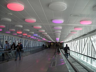 Indianapolis International Airport - Walkway from the terminal to the parking garage with motion-activated lights