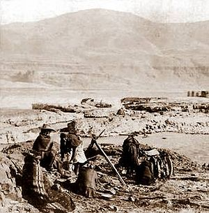 Celilo Falls - Native Americans drying salmon, circa 1900